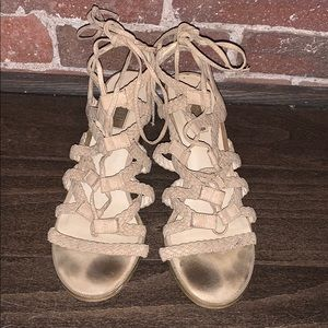 Forever21 tan lace-up wedges